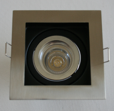 Designer LED downlight  – ZERO GLARE - square, gimbal, with LED CD series globe with reflector (white cable/round connector) and external LED driver